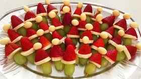 Santa hat fruit kebabs