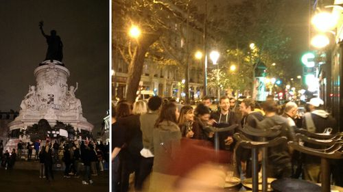 People gather at the monument in Pace de la Republique (left) and revellers outside a bar near the Bataclan theatre (right). (Jack Hawke)