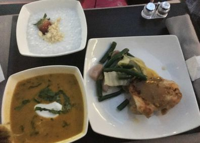 Hawaiian Airlines inflight business class meal