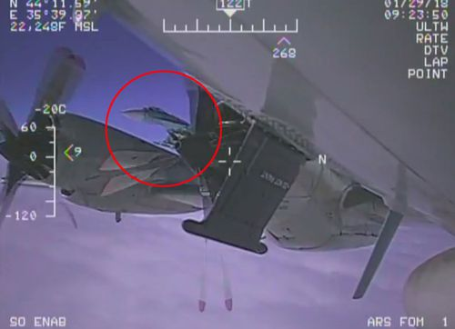 An image taken aboard a US Navy reconnaissance aircraft that was intercepted by a Russian fighter jet in January. The Russian plane came as close as 1.5m to the American aircraft.