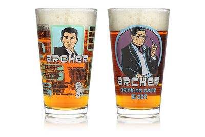 <i>Archer</i> drinking game glasses.<br/>(Image: ThinkGeek.com/shop.fxnetworks.com)