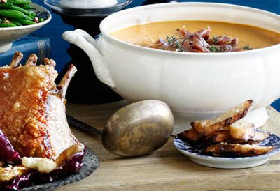 """Recipe:<a href=""""/recipes/ipancetta/8300449/roast-pumpkin-soup-with-pancetta-and-parmesan"""">Roast pumpkin soup with pancetta and Parmesan</a>"""