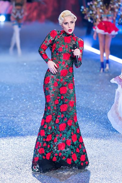 Lady Gaga in Yolan Cris couture from Barcelona at the Victoria's Secret runway show.