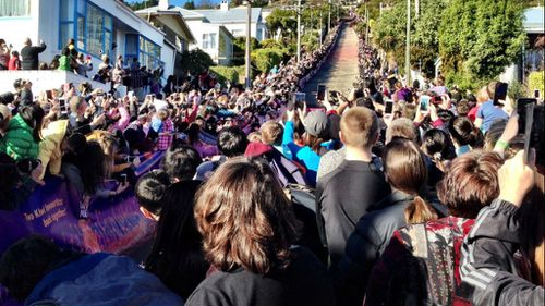 Up to 15,000 onlookers crammed onto the world's steepest street. (Twitter)