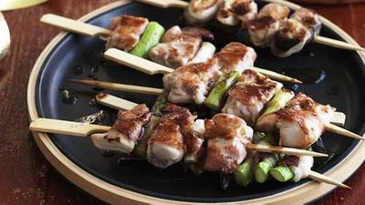 Bacon-wrapped chicken yakitori