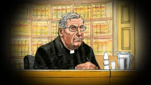 Pell wore his clerical collar in court for the appeal.