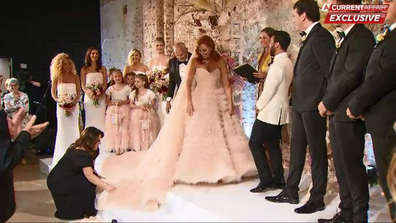 Jules chose to marry Cam on Sunday in a pink dress.