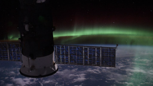 The aurora occurred somewhere above the Indian Ocean.
