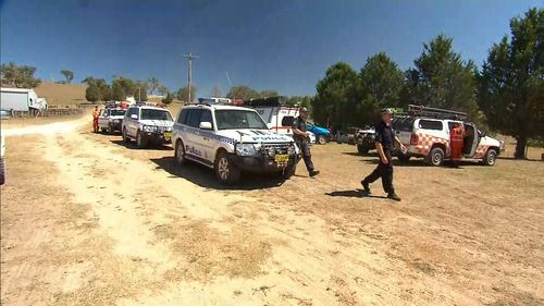 The search involved police officers, dogs, PolAir, paramedics, SES and Rural Fire Service volunteers. (9NEWS)