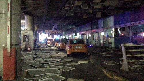 An entrance of the Ataturk Airport in Istanbul after explosions. (AAP)