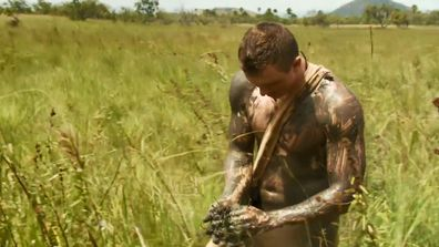 Zack quickly slathered himself in mud to escape the heat.