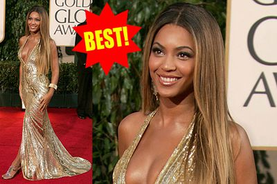 Beyonce was at her bootylicious best in this liquid gold frock that practically poured off her.