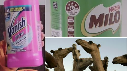 Vanish, Milo and Camel Milk Victoria products were among this year's Shonky Award recipients. (CHOICE, AAP file image)