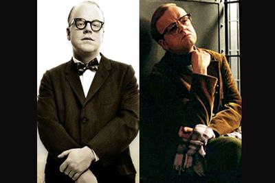 <B>In <I>Capote</I>...</B> In this film based on a true story, Truman Capote (Philip Seymour Hoffman) becomes fascinated by the murder of a family in Kansas. He befriends an imprisoned perpetrator, learns the truth behind the event, and writes a book about it and profits.<br/><br/><B>In <I>Infamous</I>...</B> Based on real life events, Truman Capote (Toby Jones) becomes fascinated by the murder of a family in Kansas. He befriends an imprisoned perpetrator, learns the truth behind the events, and writes a book about it and profits.