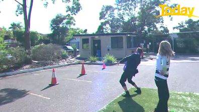 Karl and Ally's footy kicking competition went slightly array.