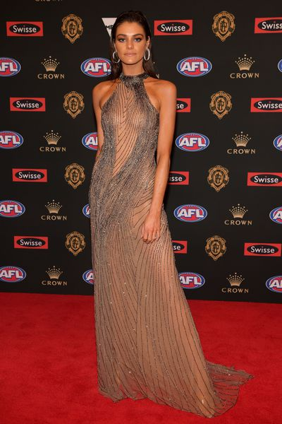 Charlotte Ennels, partner of Melbourne's Jack Viney, wearing Oglialoro Couture at the 2018 Brownlow Medal, September 2018