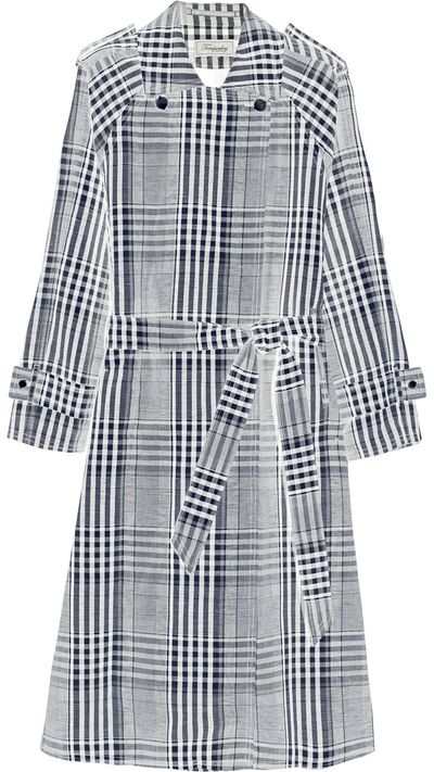 """<a href=""""http://www.net-a-porter.com/product/539274/Temperley_London/checked-linen-and-cotton-blend-trench-coat"""">Check Linen and Cotton-Blench Trench Coat, $1955.16, Temperley London</a>"""