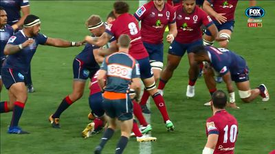 Super Rugby: Queensland skipper Scott Higginbotham sent off as Melbourne Rebels steamroll Reds