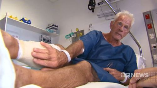 John Lahiff was bitten by a crocodile while playing golf in North Queensland. (9NEWS)