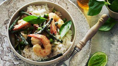 "Recipe: <a href=""http://kitchen.nine.com.au/2016/05/16/10/16/thai-green-prawn-curry"" target=""_top"">Thai green prawn curry</a>"
