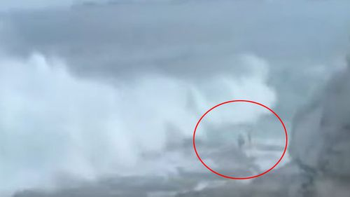 The moment the wave struck the couple was caught on video by a witness.