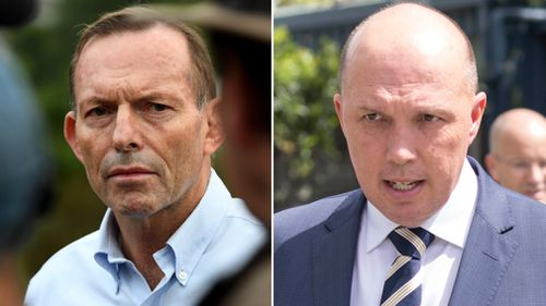 Former prime minister Tony Abbott has denied meeting privately with Home Affairs Minister Peter Dutton. (AAP)