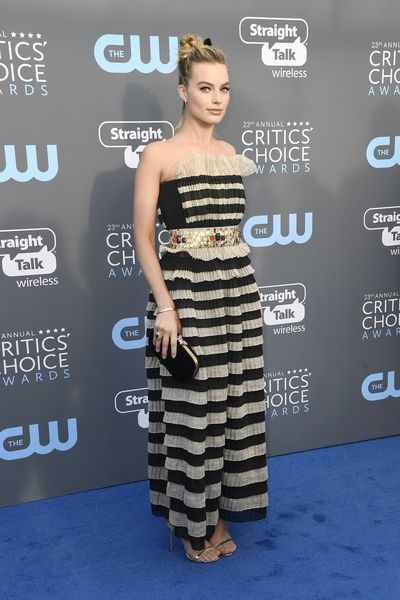 Actress Margot Robbie in Chanel at the 2018 Critics Choice Awards