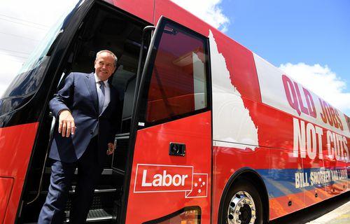 Bill Shorten bus motors around Queensland