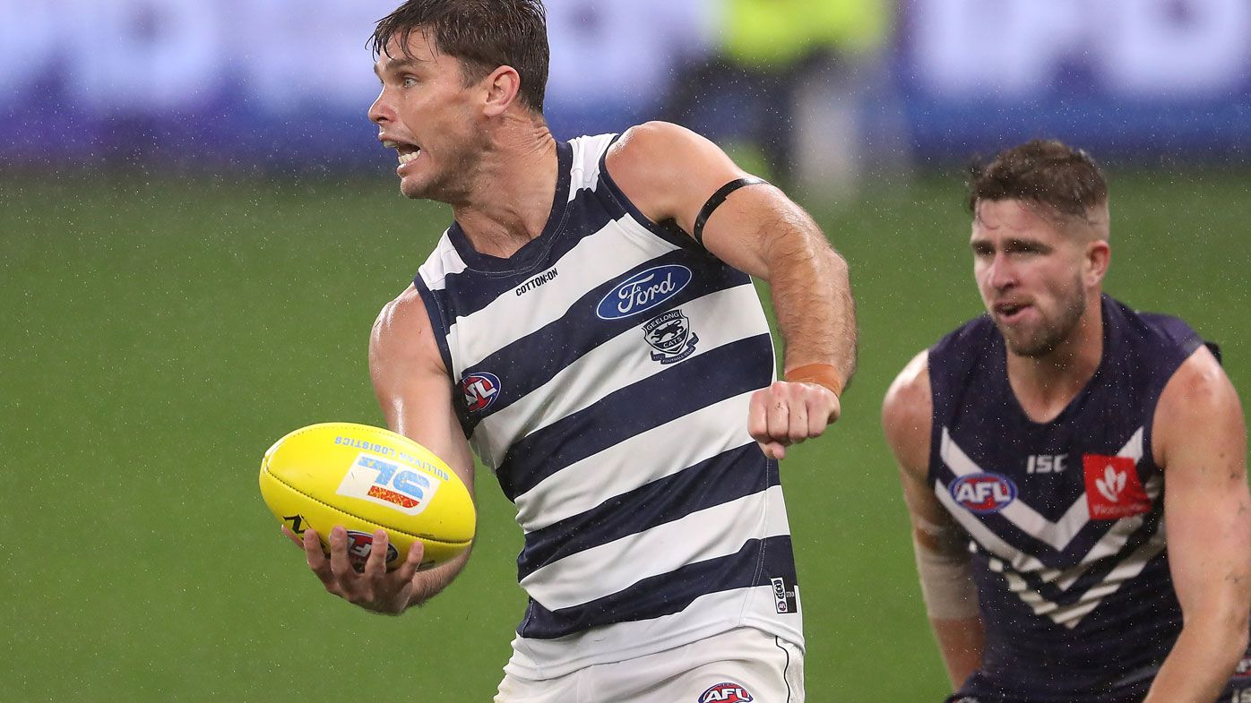 Tom Hawkins of Geelong has kicked 14 goals from eight games. (Getty)