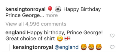 Instagram exchange between England and Kensington Palace.