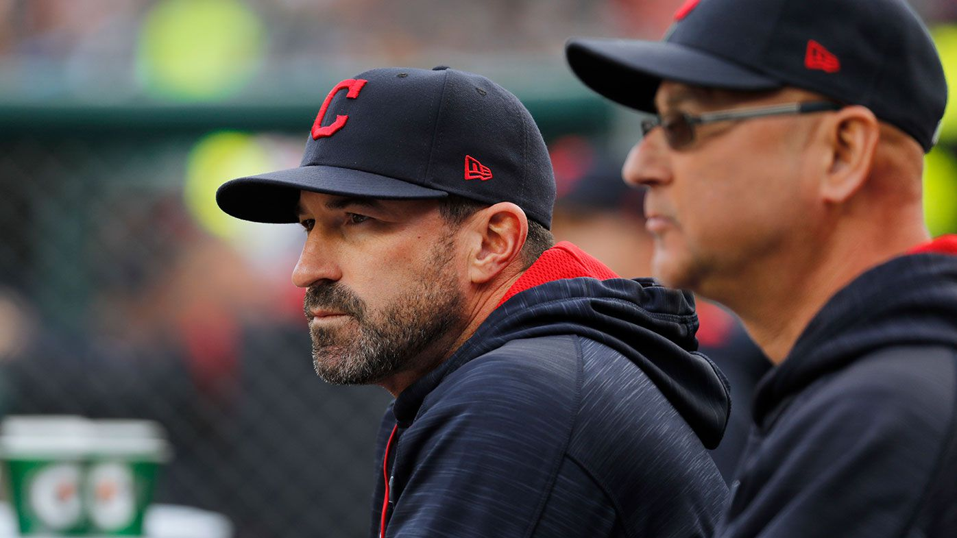 Cleveland Indians pitching coach Mickey Callaway, left, watches with manager Terry Francona during game against the Detroit Tigers in 2017.