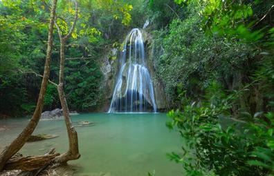 Pha Nam Yod Waterfall in tropical deep forest at Kaeng Krachan nature park.