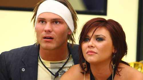 Camilla Severi with Big Brother 2006 winner Jamie Brooksby as they await the result of the reality television series. (AAP)