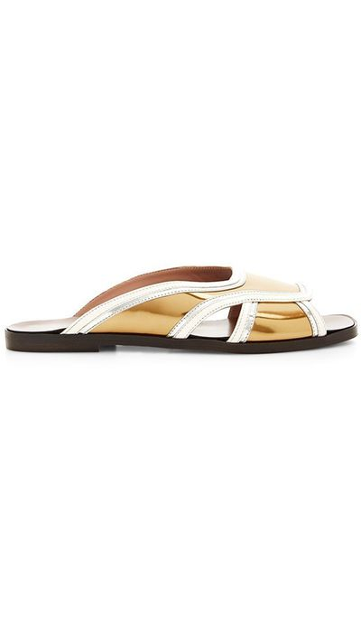 "<a href=""https://www.modaoperandi.com/marni-ss15/gold-sandal-in-calf-leather"" target=""_blank"">Sandals, approx. $275, Marni at modaoperandi.com</a>"