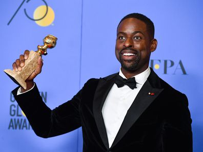 Sterling K. Brown holds his award for Best Performance by an Actor In A Television Series Drama in 'This Is Us'