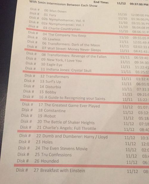 The full list of his 29 movies that will run for three days straight.  The actor gets a five minute intermission between films. (Twitter)
