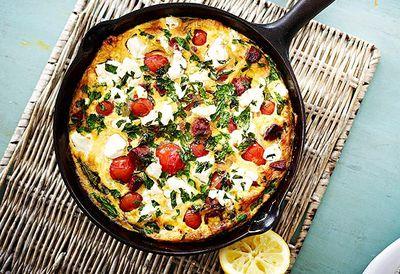 Chorizo, tomato and feta omelette