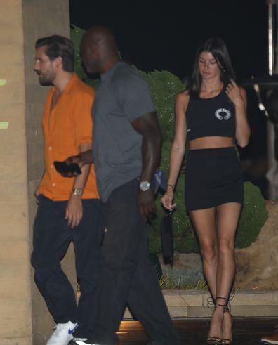 Scott Disick and Bella Banos are seen leaving Nobu on October 1, 2020 in Malibu, California.
