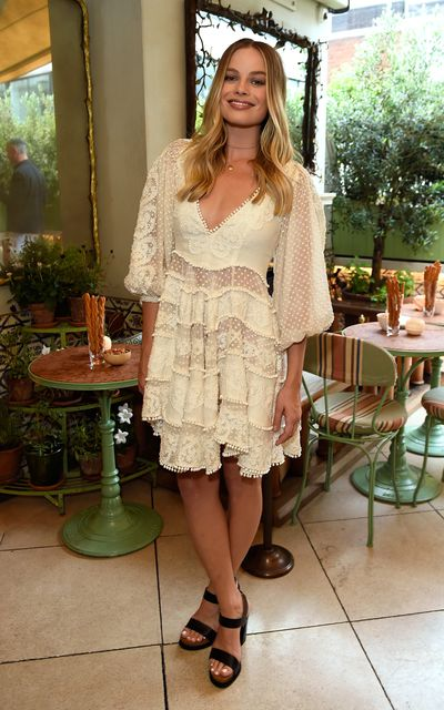 Margot Robbie in Zimmermann, celebrating the launch of Zimmermann's London flagship store in Mayfair at the private members' club 5 Hertford St, London.