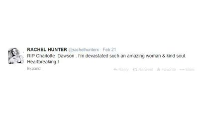 Fellow model Rachel Hunter also tweeted about Charlotte's death.