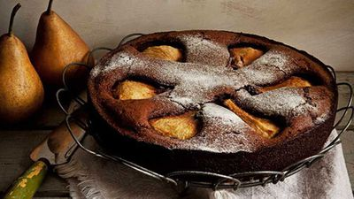 "Recipe:&nbsp;<a href=""http://kitchen.nine.com.au/2016/05/05/15/20/flourless-chocolate-cake-with-pear-macadamia-and-creme-chantilly"" target=""_top"">Flourless chocolate cake with pear, macadamia and creme chantilly</a>"