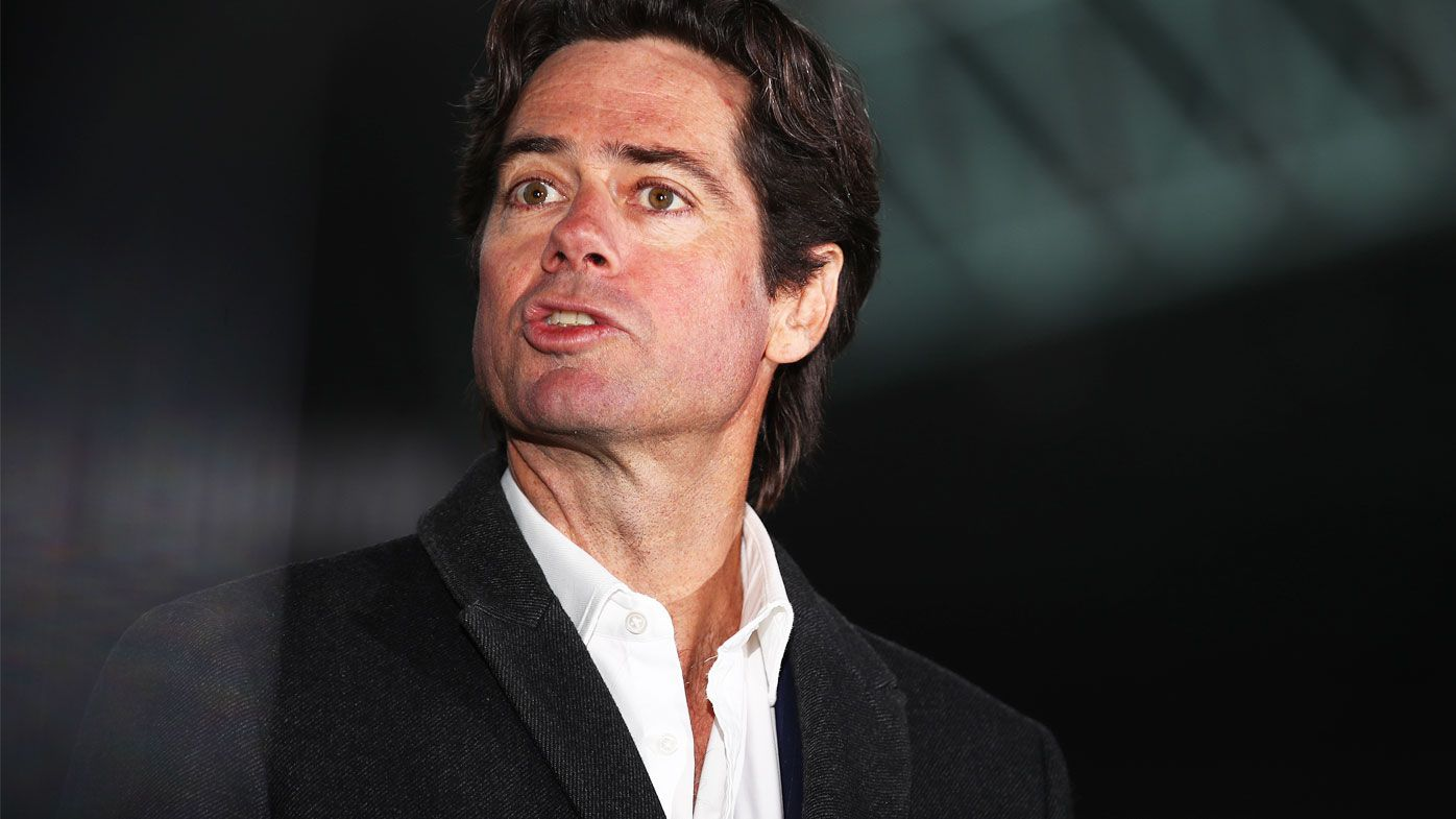 AFL CEO Gillon McLachlan speaks to the media