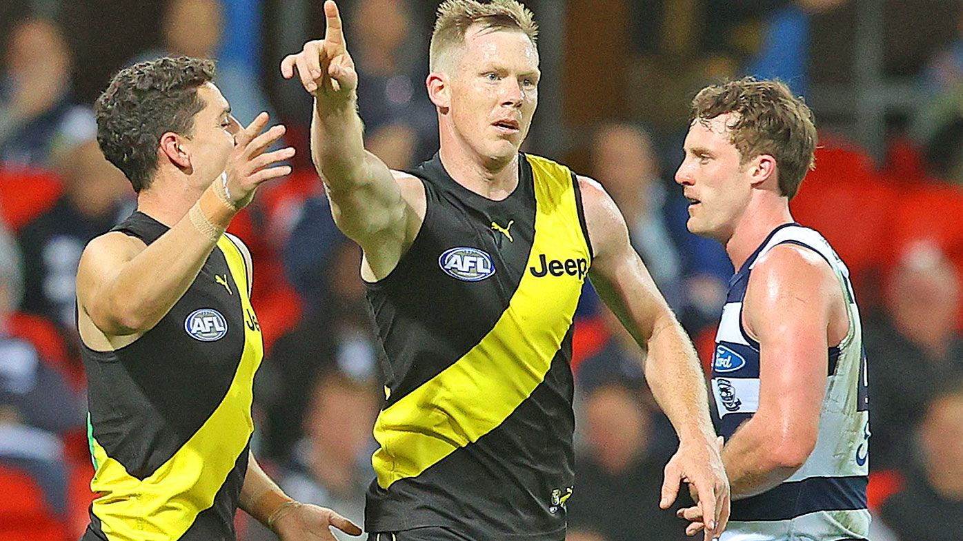 Jack Riewoldt has cheeky crack at Mick Malthouse after Richmond hold on to beat Geelong Cats