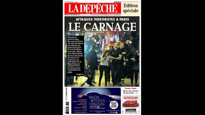 <p>French newspaper <em>La Dépêche</em> ran a special edition with the headline 'Terrorist attacks in Paris: The Carnage'.</p>