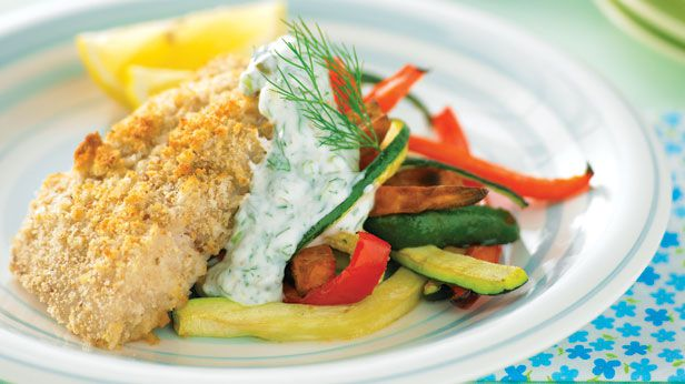 Fish and vegie chips with caper yogurt