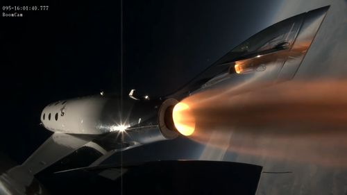 It was the company's first powered flight since the fatal crash of its original rocketship in 2014. (Virgin Galactic / Youtube)