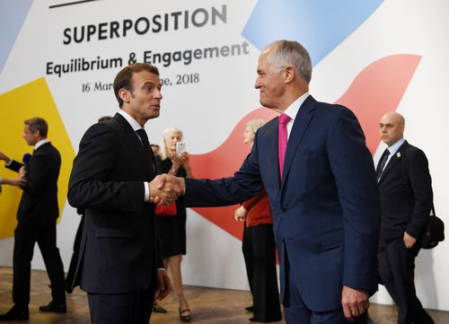 French President Emmanuel Macron and Prime Minister Malcolm Turnbull visit the The Biennale of Sydney at Carriageworks. (AAP)