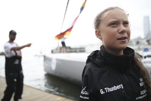 Boris Herrmann, the captain of the zero-emissions yacht, the Malizia II, and Greta Thunberg are seen on the dock after they arrived in New York.