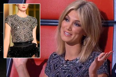 """Gabe says: """"This is an epic Collette Dinnigan top. It would have been so heavy to wear with all the embellishment! and I'm loving her new shorter chopped-at hair.""""<br/><br/>(Image: Collette Dinnigan / Channel Nine)<br/>"""