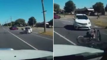 The cyclist reportedly was left uninjured. (Dash Cam Owners Australia)